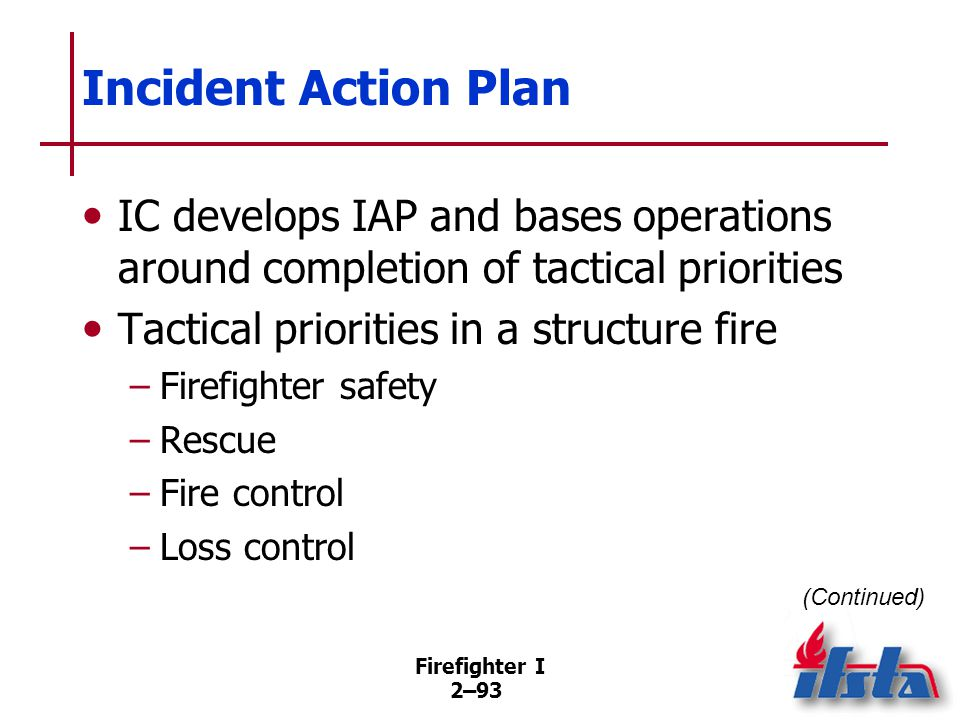 Firefighter I 2–93 Incident Action Plan IC develops IAP and bases operations around completion of tactical priorities Tactical priorities in a structu
