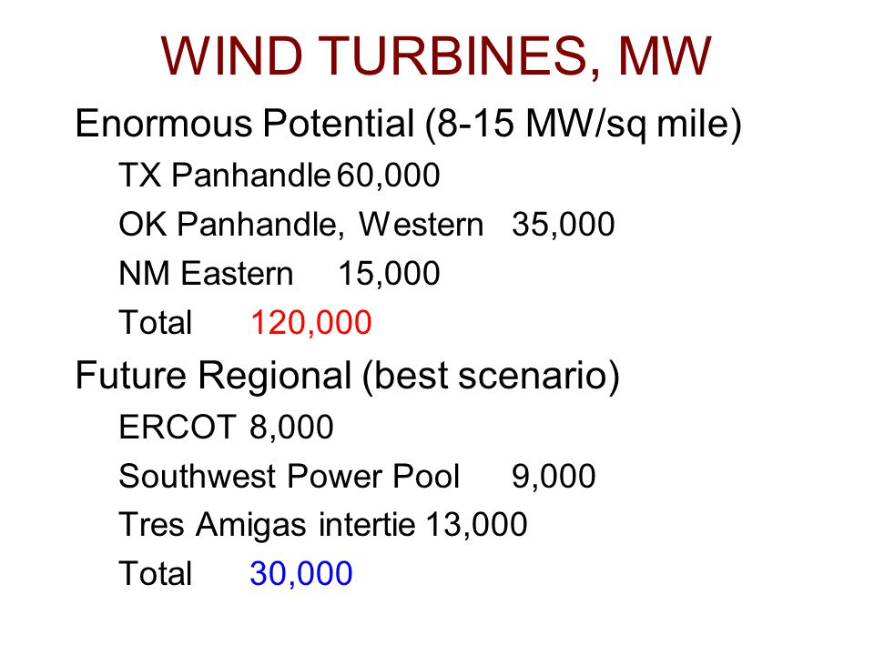 WIND TURBINES, MW Enormous Potential (8-15 MW/sq mile) TX Panhandle60,000 OK Panhandle, Western35,000 NM Eastern15,000 Total120,000 Future Regional (b