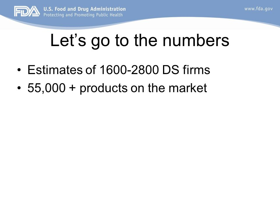 Let's go to the numbers Estimates of 1600-2800 DS firms 55,000 + products on the market