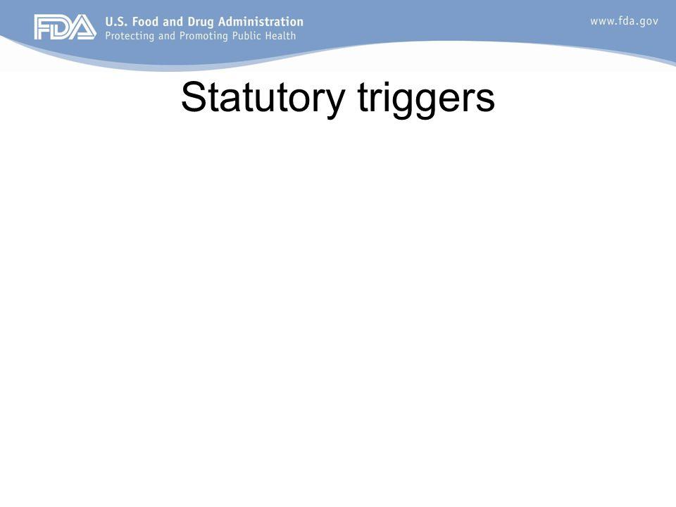 Statutory triggers