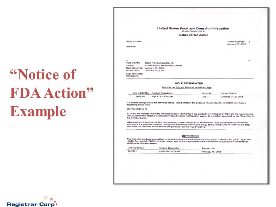 """Notice of FDA Action"" Example"