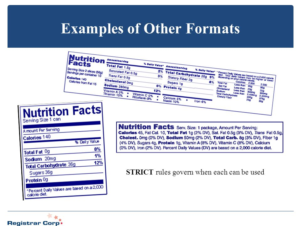 Examples of Other Formats STRICT rules govern when each can be used