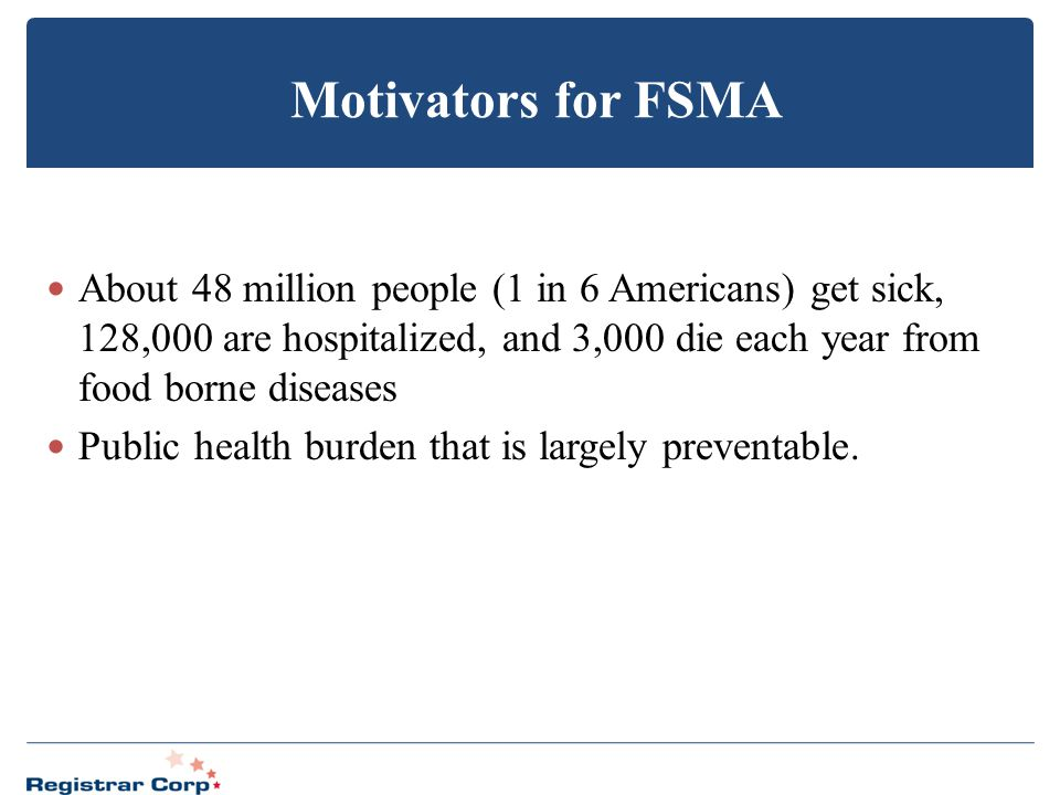 Motivators for FSMA About 48 million people (1 in 6 Americans) get sick, 128,000 are hospitalized, and 3,000 die each year from food borne diseases Pu