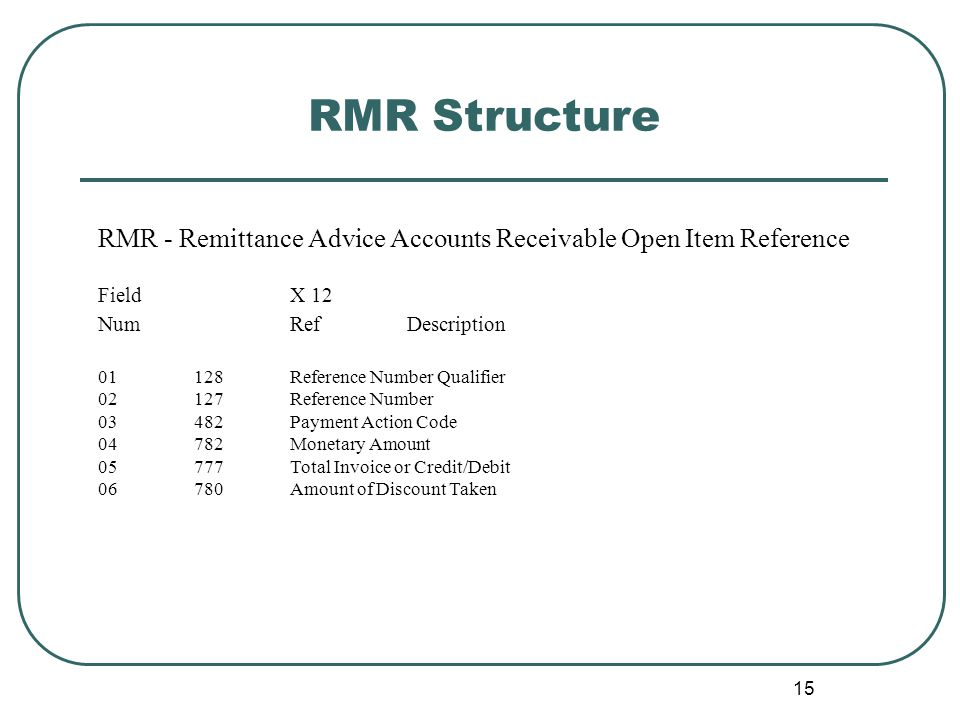 15 RMR Structure RMR - Remittance Advice Accounts Receivable Open Item Reference Field X 12 Num Ref Description 01128Reference Number Qualifier 02127Reference Number 03482Payment Action Code 04782Monetary Amount 05777Total Invoice or Credit/Debit 06780Amount of Discount Taken