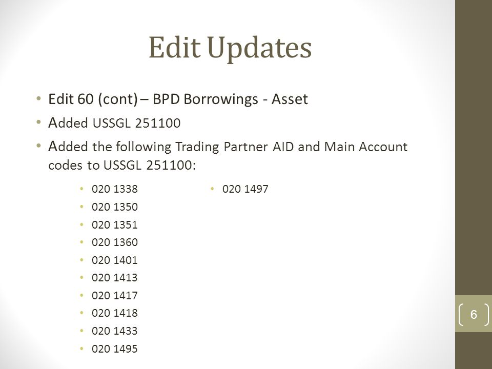 Edit Updates Edit 60 (cont) – BPD Borrowings - Asset A dded USSGL 251100 A dded the following Trading Partner AID and Main Account codes to USSGL 251100: 6 020 1338 020 1350 020 1351 020 1360 020 1401 020 1413 020 1417 020 1418 020 1433 020 1495 020 1497