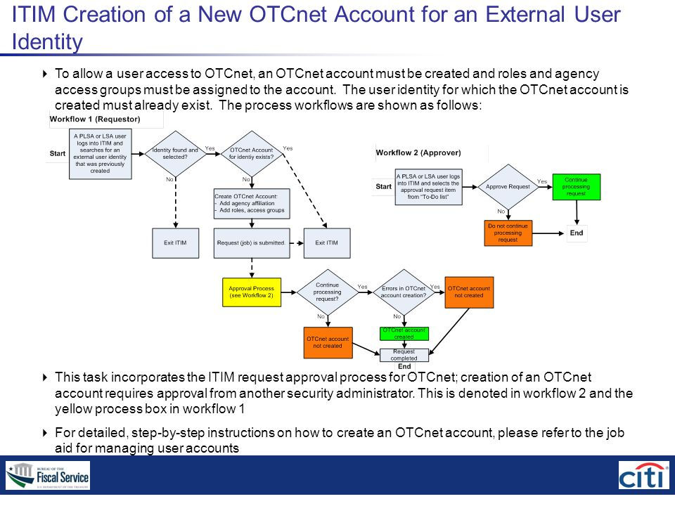 ITIM Creation of a New OTCnet Account for an External User Identity  To allow a user access to OTCnet, an OTCnet account must be created and roles and agency access groups must be assigned to the account.