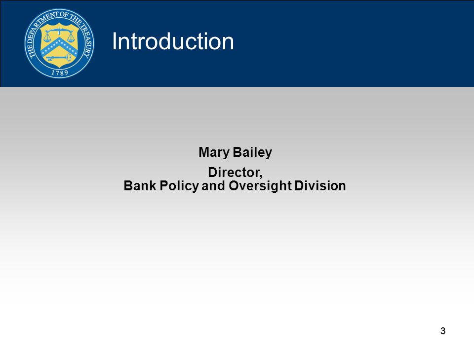33 Mary Bailey Director, Bank Policy and Oversight Division Introduction