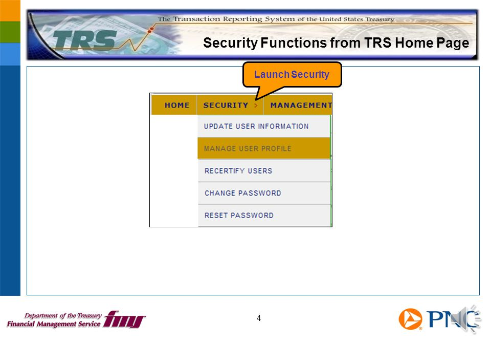 Security User Responsibilities Reset passwords Maintain user accounts ─ Who is active ─ Who is revoked ─ Who is closed Recertify users annually Request new user profiles Act as first point of contact for TRS questions 3