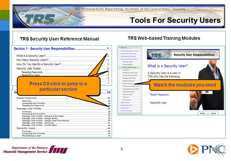 WBTs and Security User Manual 5 Training link on TRS home page Launch WBT Launch manual Forms link opens the New User Request form