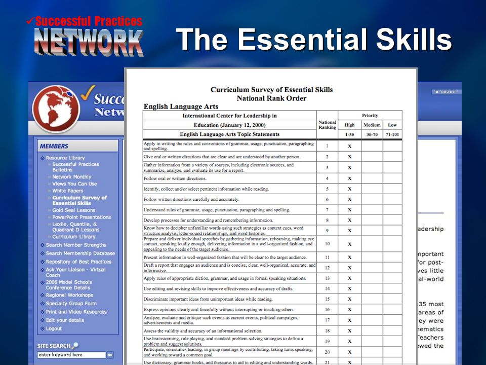 Successful Practices The Essential Skills