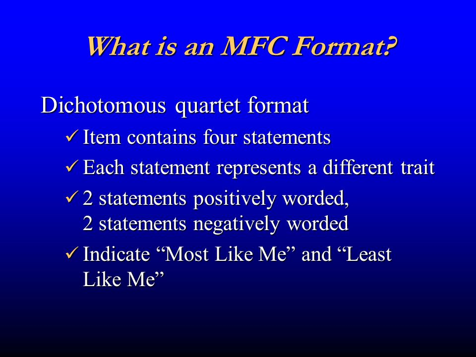 What is an MFC Format.