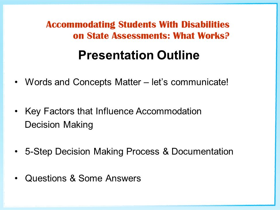 Presentation Outline Words and Concepts Matter – let's communicate.