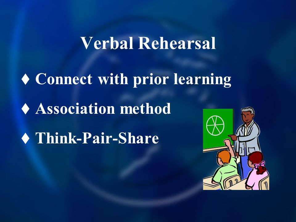 Verbal Rehearsal  Connect with prior learning  Association method  Think-Pair-Share