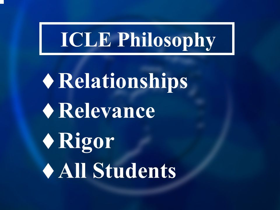 ICLE Philosophy  Relationships  Relevance  Rigor  All Students