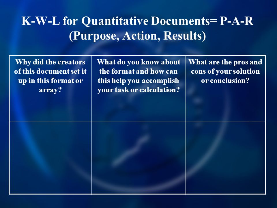 K-W-L for Quantitative Documents= P-A-R (Purpose, Action, Results) Why did the creators of this document set it up in this format or array.