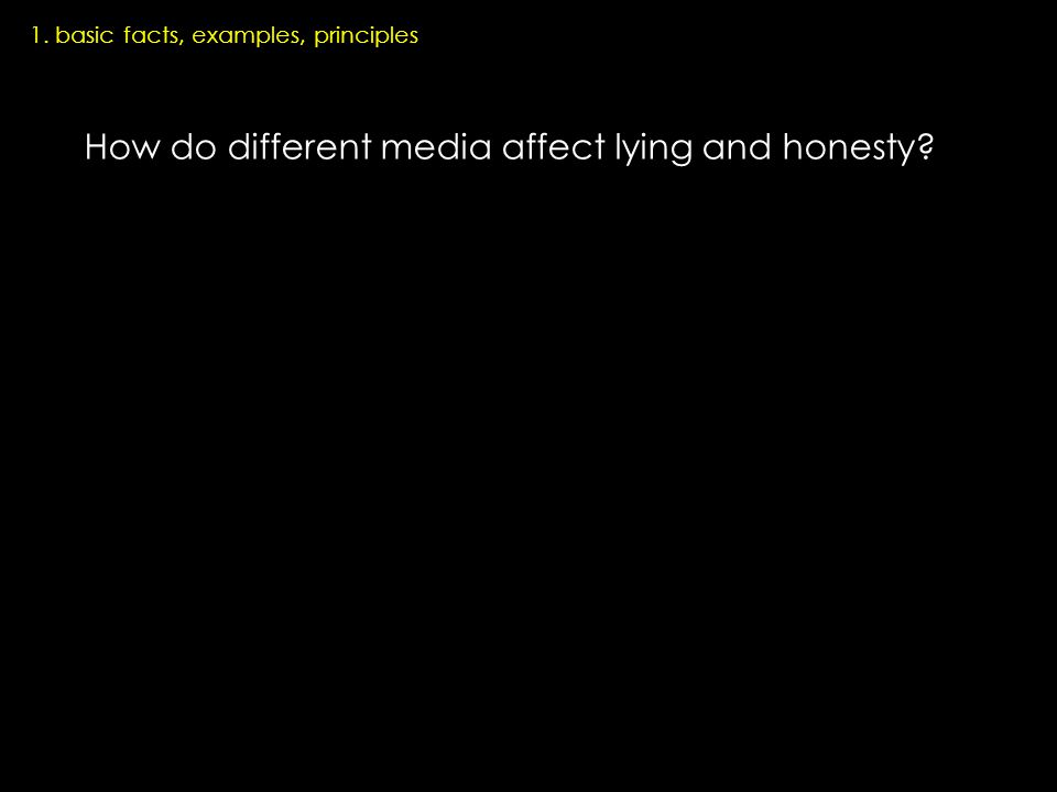 How do different media affect lying and honesty 1. basic facts, examples, principles