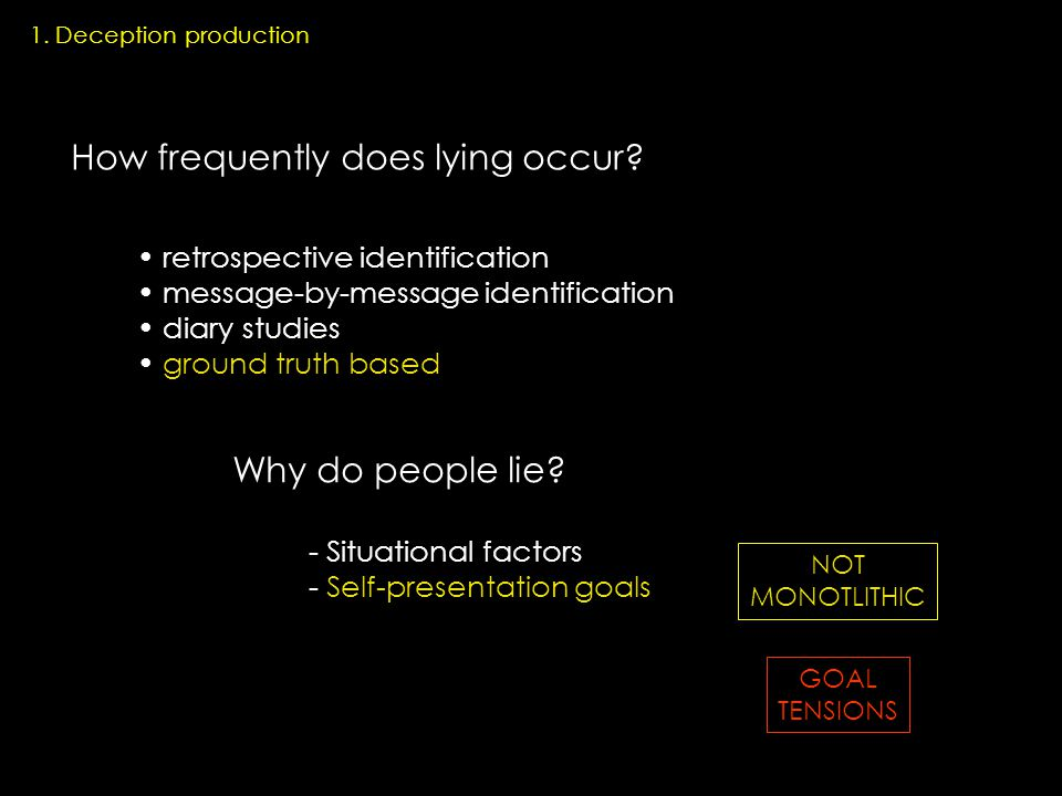 1. Deception production How frequently does lying occur.