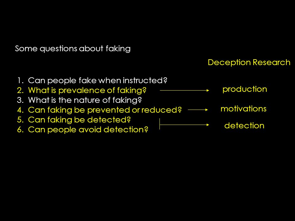 Some questions about faking 1.Can people fake when instructed.