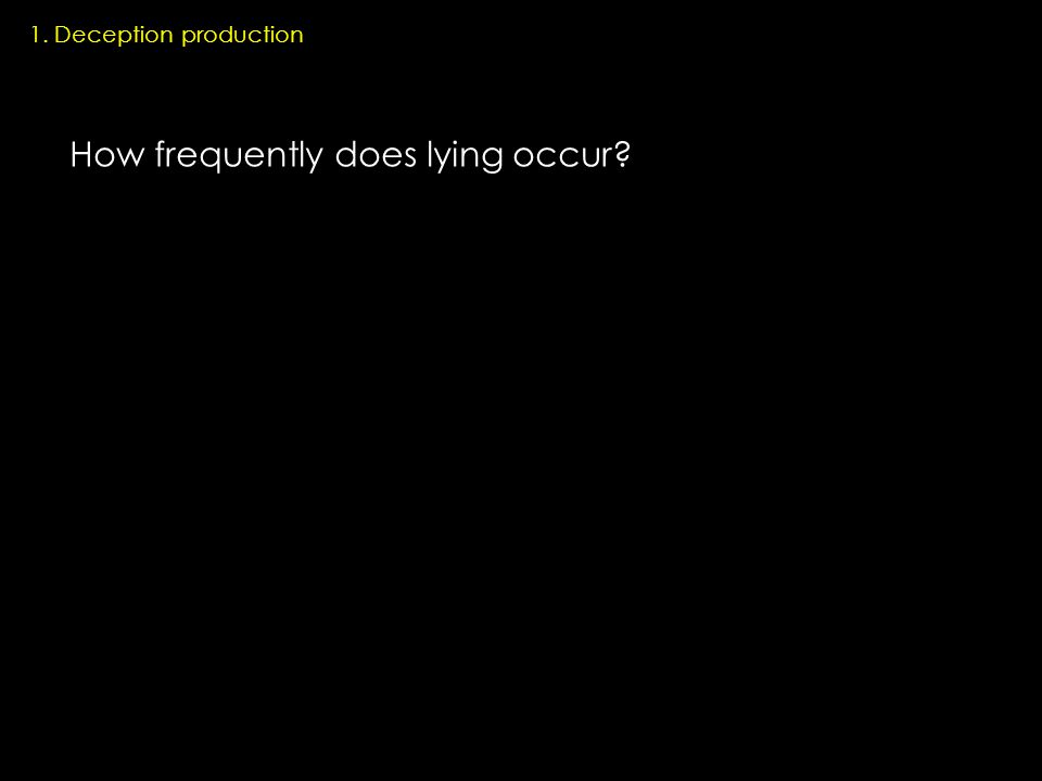 1. Deception production How frequently does lying occur