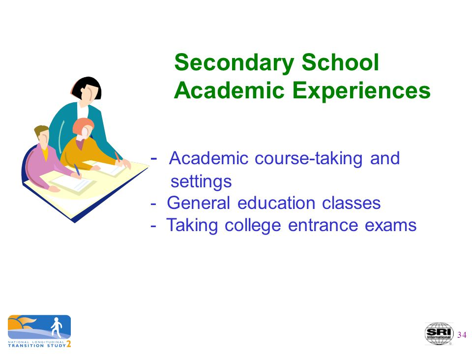 Secondary School Academic Experiences - Academic course-taking and settings - General education classes - Taking college entrance exams 34
