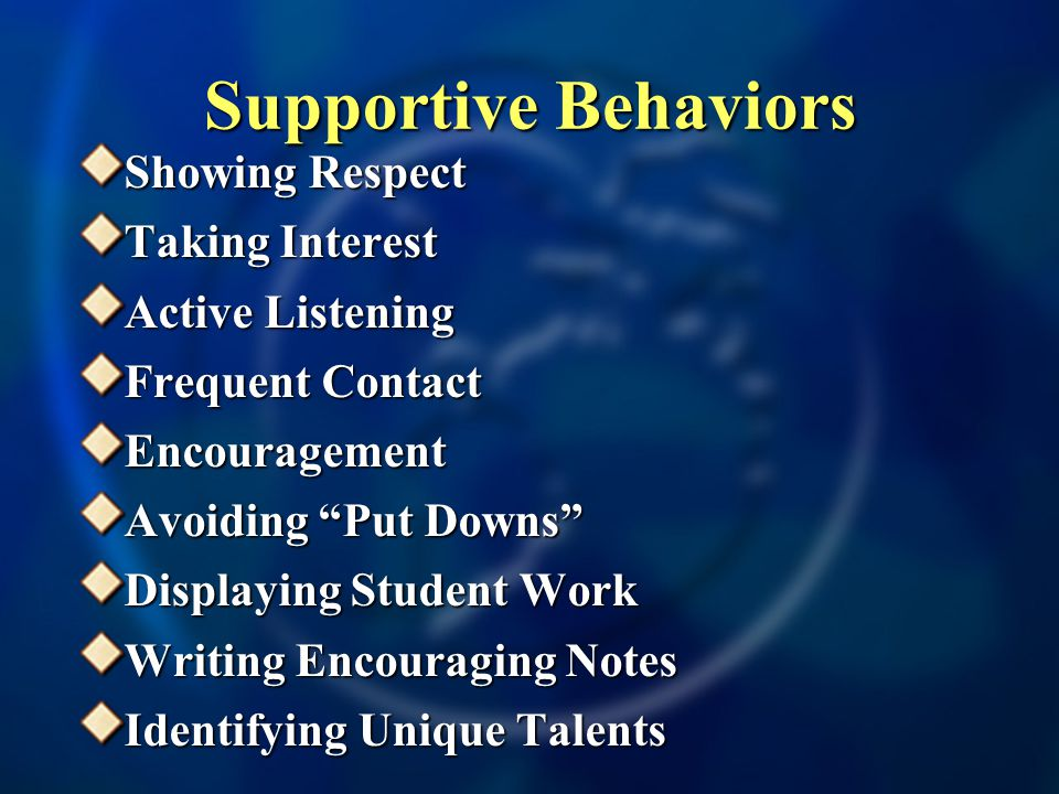 Supportive Behaviors Showing Respect Taking Interest Active Listening Frequent Contact Encouragement Avoiding Put Downs Displaying Student Work Writing Encouraging Notes Identifying Unique Talents