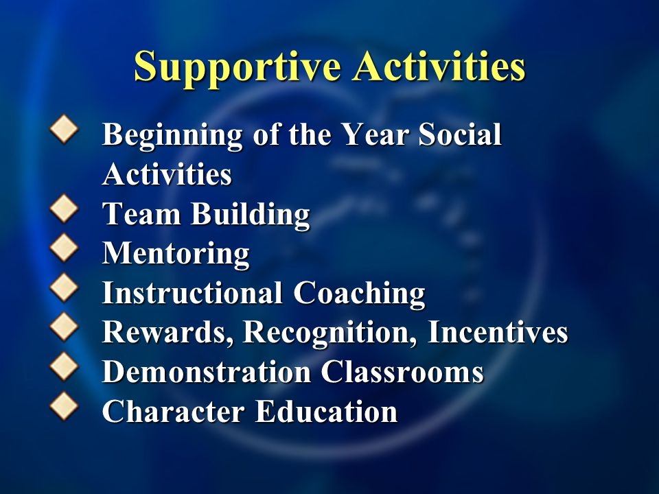 Supportive Activities Beginning of the Year Social Activities Team Building Mentoring Instructional Coaching Rewards, Recognition, Incentives Demonstration Classrooms Character Education