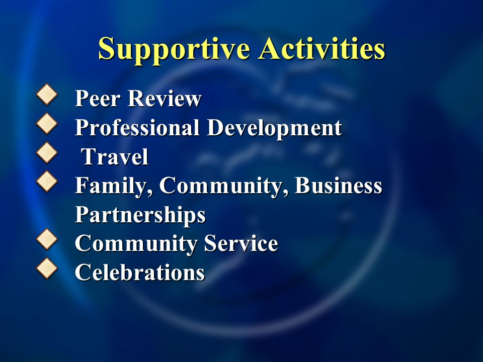 Supportive Activities Peer Review Professional Development Travel Travel Family, Community, Business Partnerships Community Service Celebrations