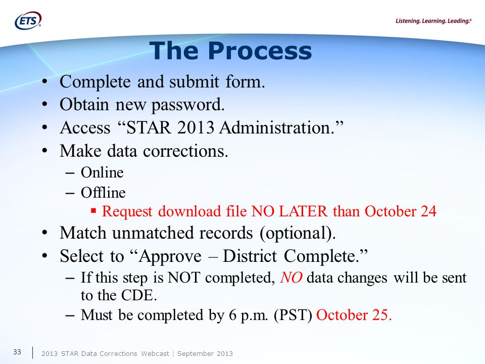 2013 STAR Data Corrections Webcast | September 2013 The Process Complete and submit form.