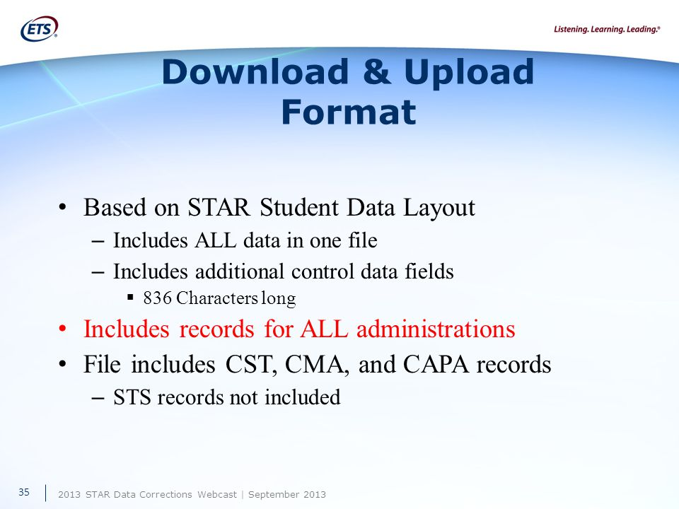 2013 STAR Data Corrections Webcast | September 2013 Download & Upload Format Based on STAR Student Data Layout – Includes ALL data in one file – Includes additional control data fields  836 Characters long Includes records for ALL administrations File includes CST, CMA, and CAPA records – STS records not included 35