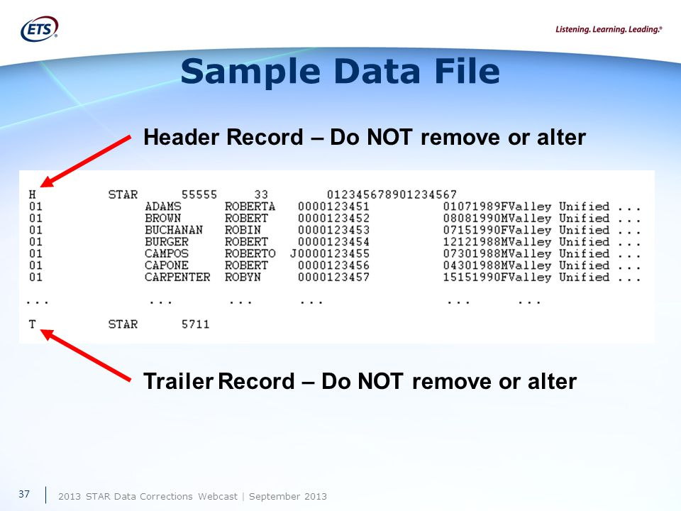 2013 STAR Data Corrections Webcast | September 2013 Sample Data File Header Record – Do NOT remove or alter Trailer Record – Do NOT remove or alter 37