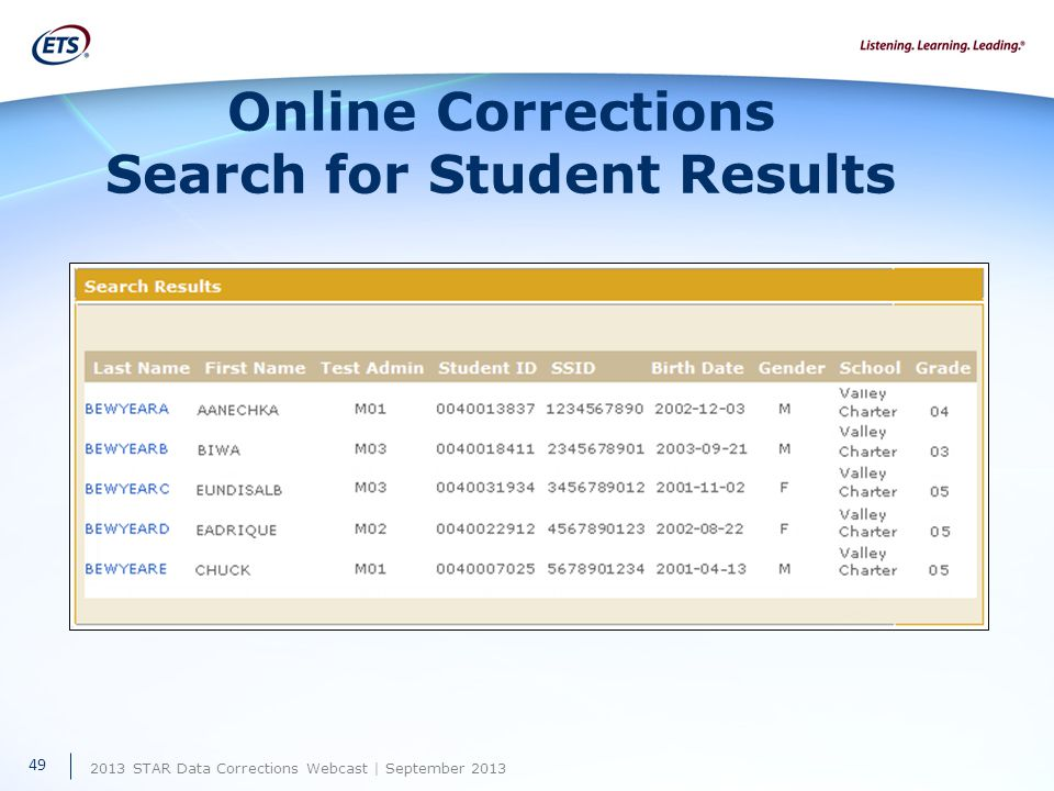 2013 STAR Data Corrections Webcast | September 2013 Online Corrections Search for Student Results 49
