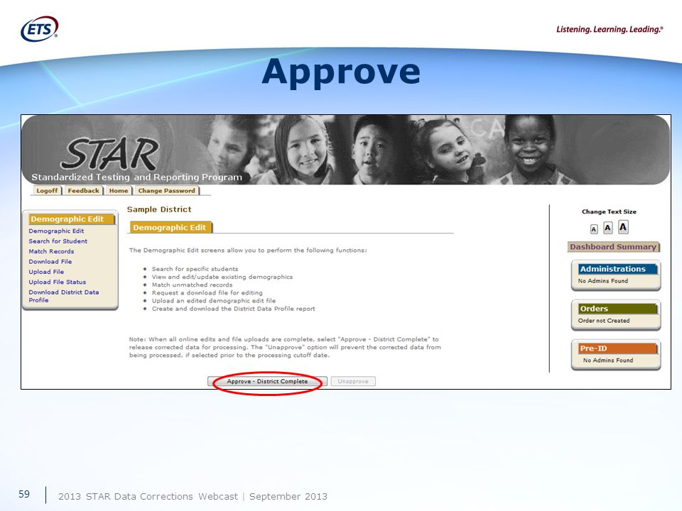 2013 STAR Data Corrections Webcast | September 2013 Approve 59