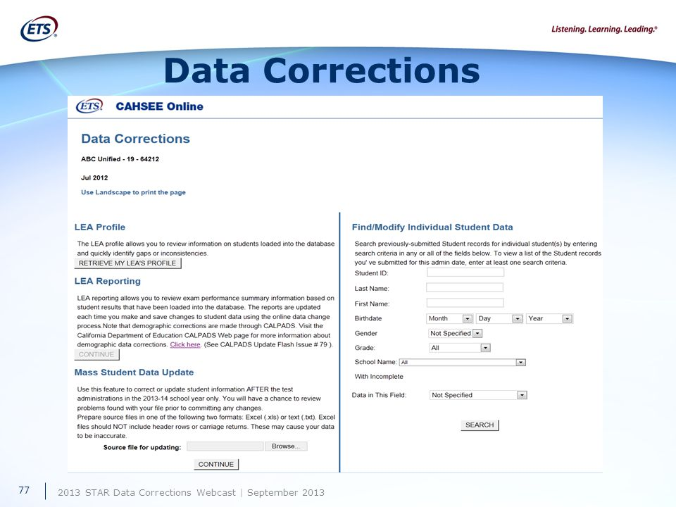 2013 STAR Data Corrections Webcast | September 2013 Data Corrections 77