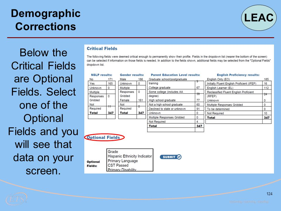 124 Demographic Corrections Below the Critical Fields are Optional Fields. Select one of the Optional Fields and you will see that data on your screen