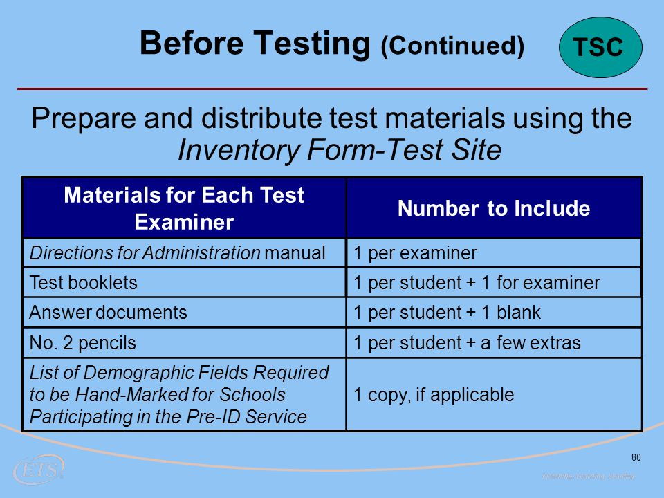 80 Prepare and distribute test materials using the Inventory Form-Test Site Materials for Each Test Examiner Number to Include Directions for Administration manual1 per examiner Test booklets1 per student + 1 for examiner Answer documents1 per student + 1 blank No.