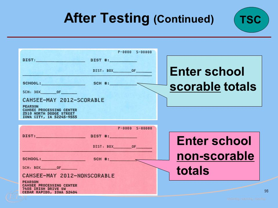 98 Enter school scorable totals Enter school non-scorable totals After Testing (Continued) TSC