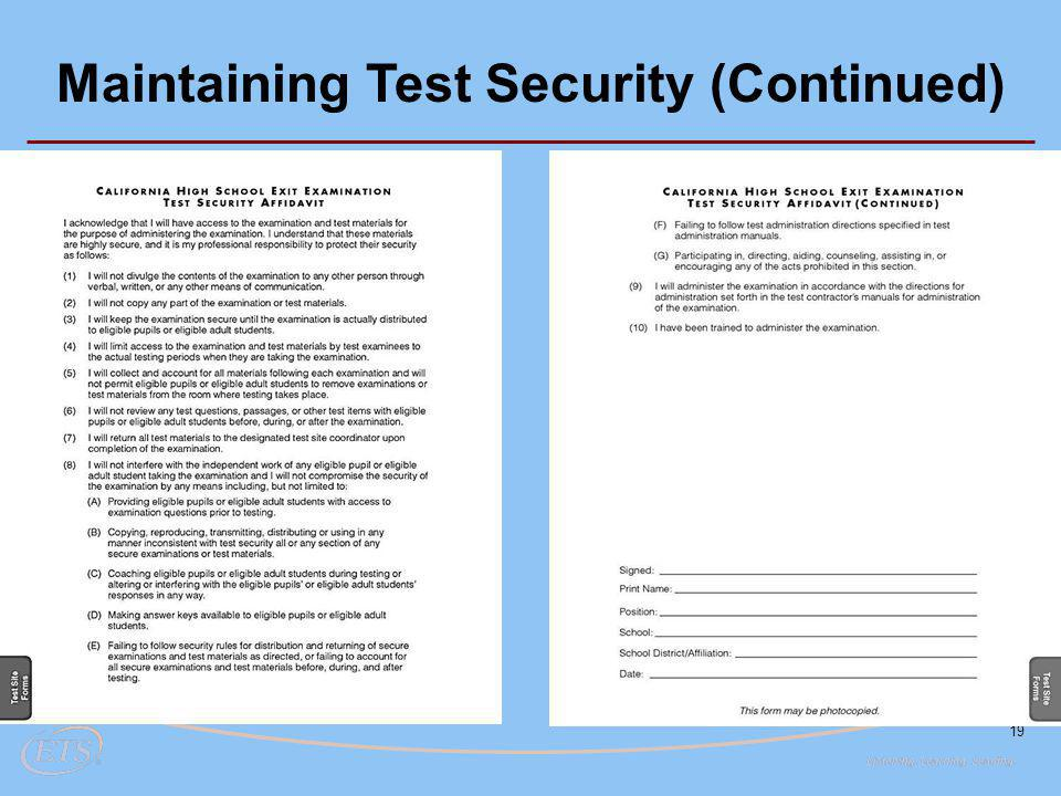 19 Maintaining Test Security (Continued)