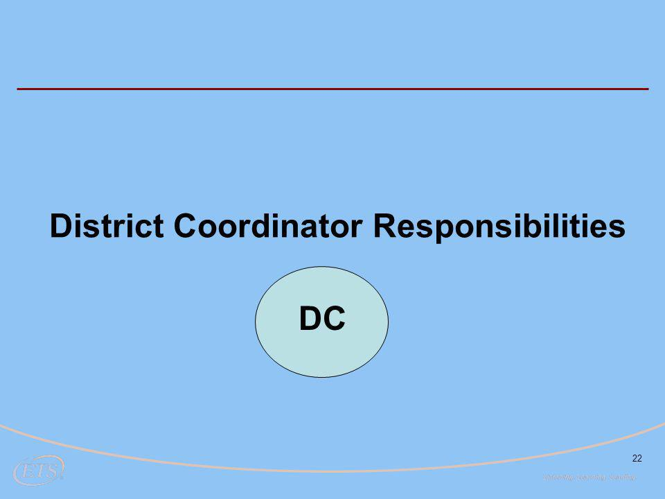 22 District Coordinator Responsibilities DC