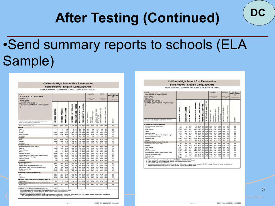 57 After Testing (Continued) Send summary reports to schools (ELA Sample) DC