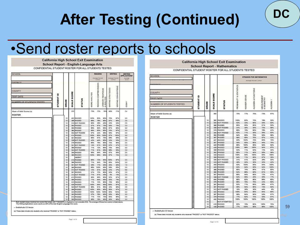 59 After Testing (Continued) Send roster reports to schools DC