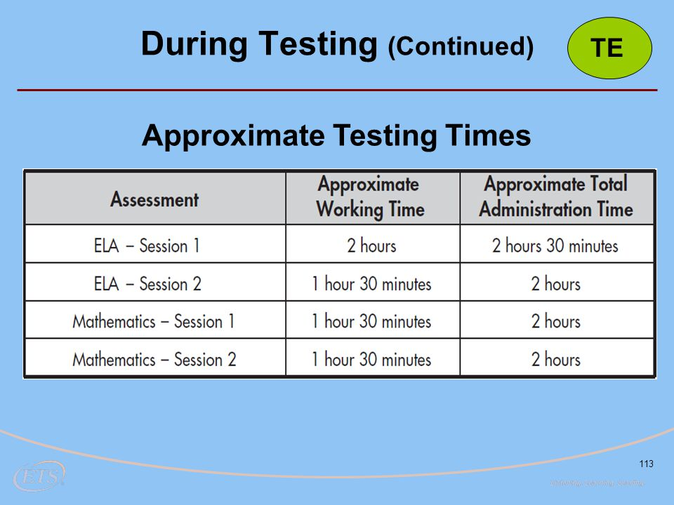 113 Approximate Testing Times During Testing (Continued) TE