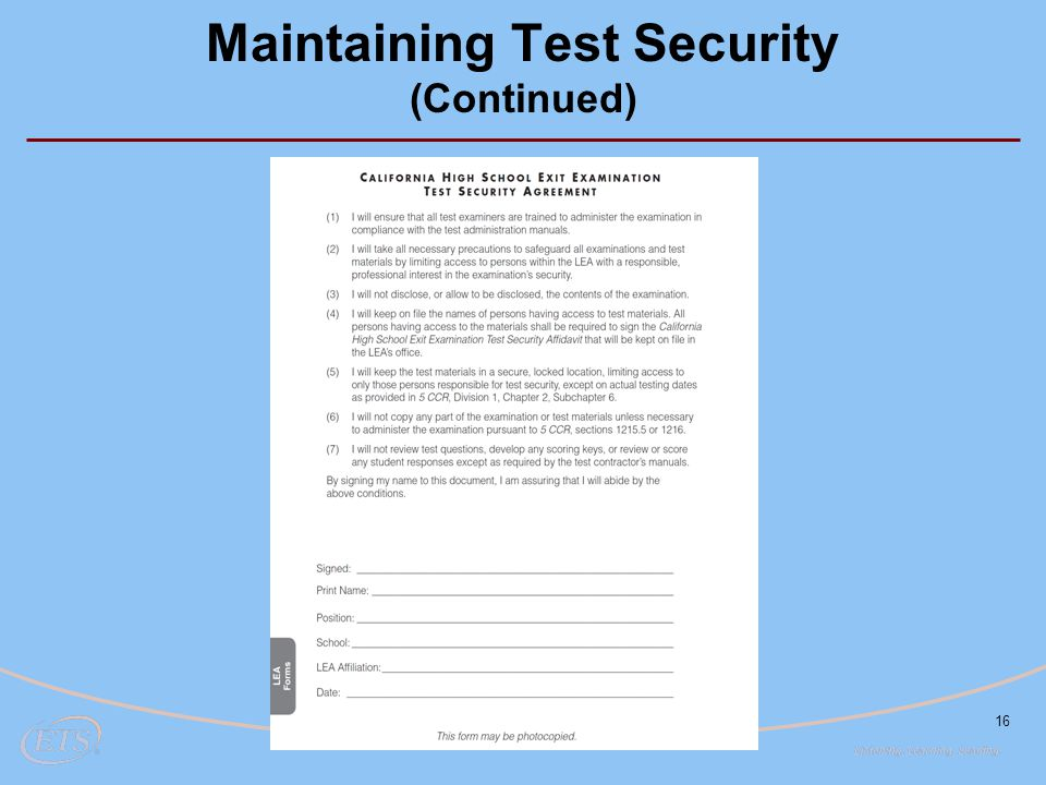 16 Maintaining Test Security (Continued)
