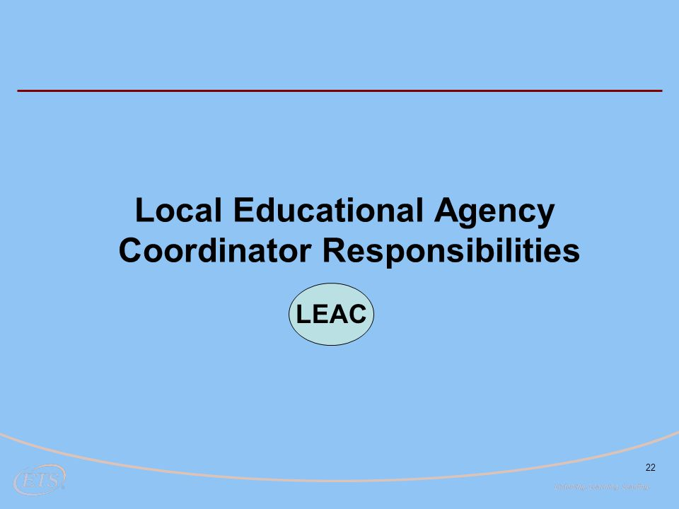 22 Local Educational Agency Coordinator Responsibilities LEAC