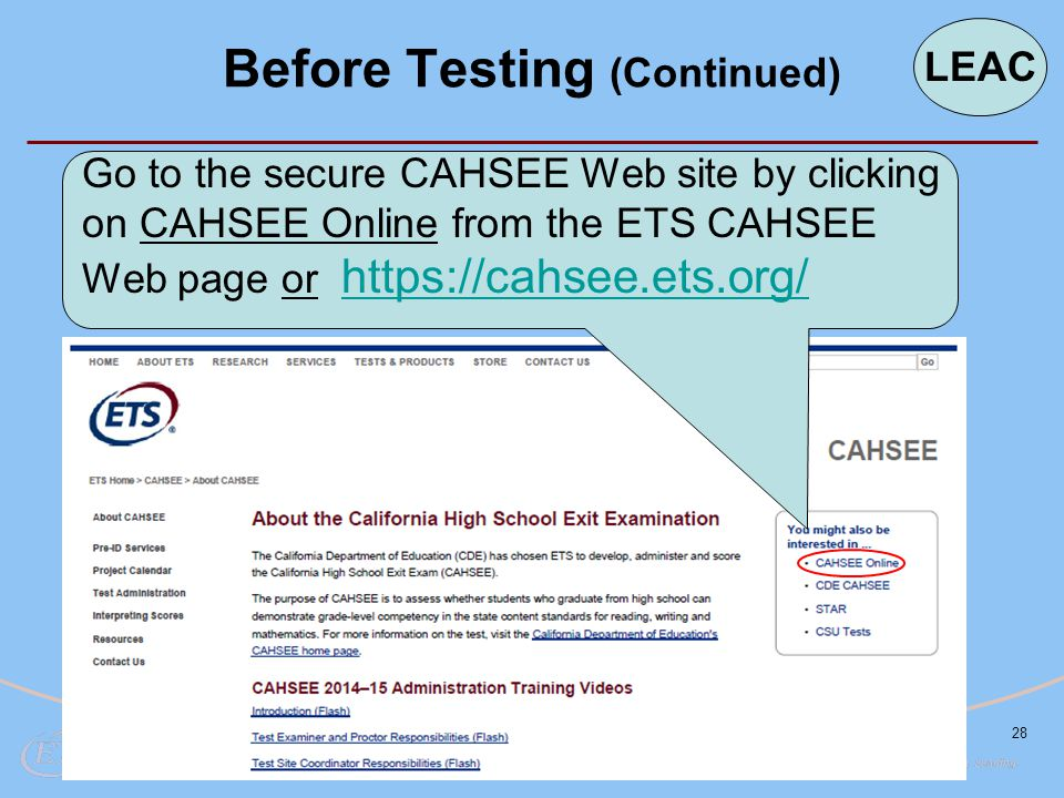 28 Go to the secure CAHSEE Web site by clicking on CAHSEE Online from the ETS CAHSEE Web page or https://cahsee.ets.org/ https://cahsee.ets.org/ Befor