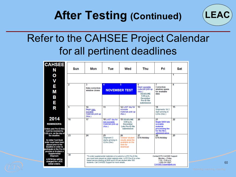 60 Refer to the CAHSEE Project Calendar for all pertinent deadlines After Testing (Continued) LEAC
