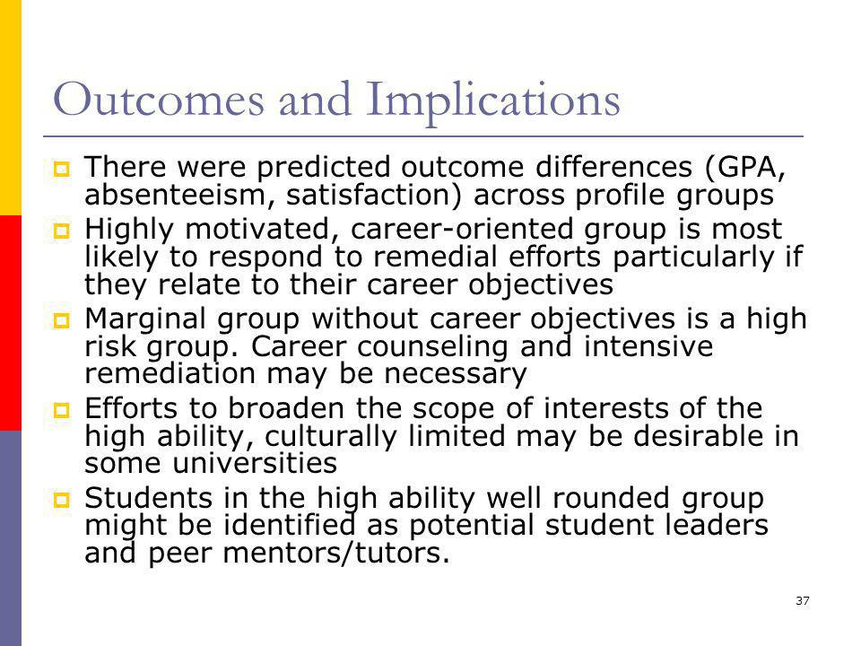 37 Outcomes and Implications  There were predicted outcome differences (GPA, absenteeism, satisfaction) across profile groups  Highly motivated, career-oriented group is most likely to respond to remedial efforts particularly if they relate to their career objectives  Marginal group without career objectives is a high risk group.