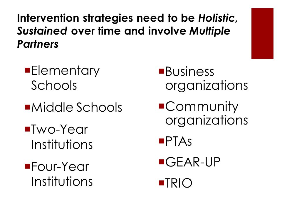 Intervention strategies need to be Holistic, Sustained over time and involve Multiple Partners  Elementary Schools  Middle Schools  Two-Year Institutions  Four-Year Institutions  Business organizations  Community organizations  PTAs  GEAR-UP  TRIO