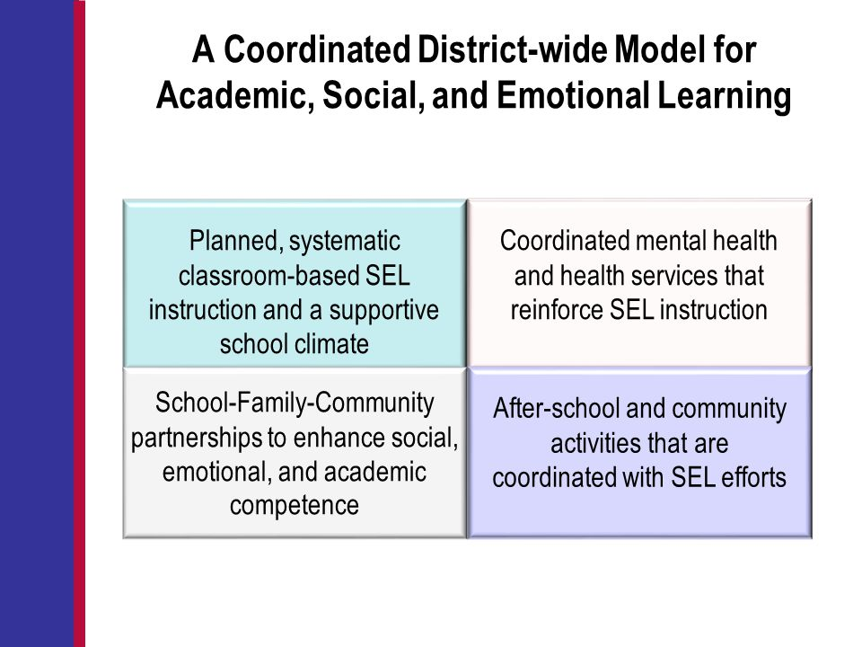 A Coordinated District-wide Model for Academic, Social, and Emotional Learning Coordinated mental health and health services that reinforce SEL instru