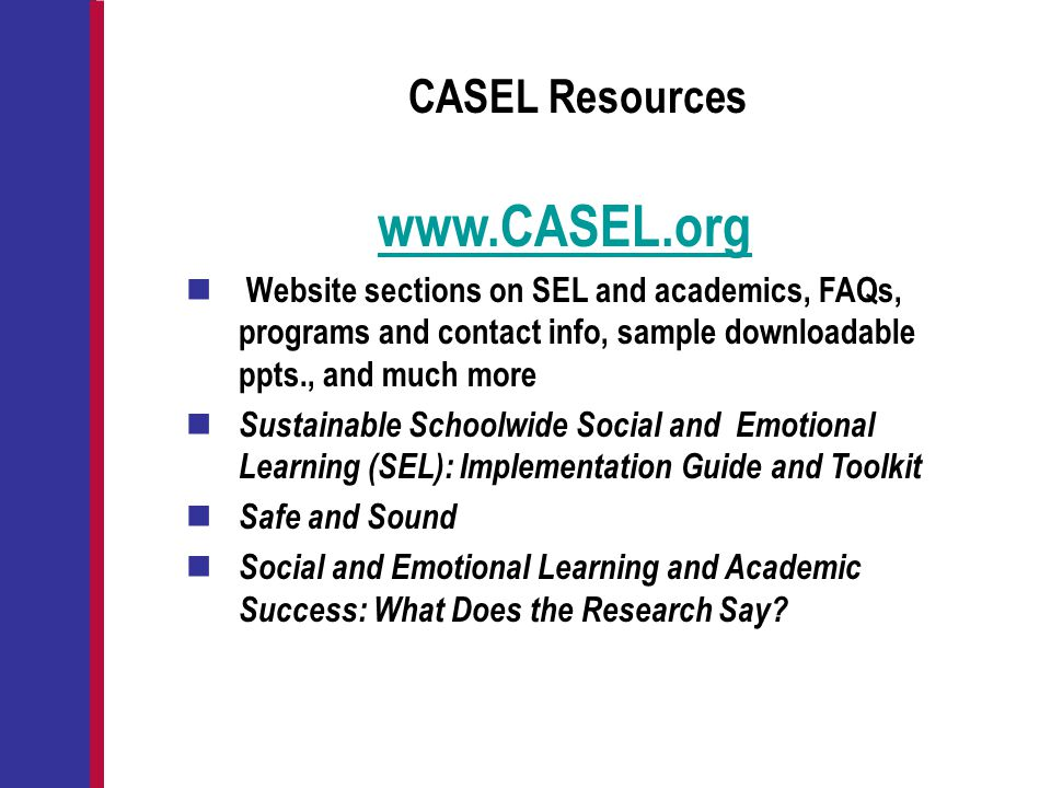 CASEL Resources www.CASEL.org Website sections on SEL and academics, FAQs, programs and contact info, sample downloadable ppts., and much more Sustain