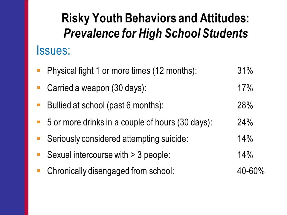 Risky Youth Behaviors and Attitudes: Prevalence for High School Students Issues:  Physical fight 1 or more times (12 months): 31%  Carried a weapon